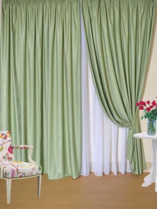 Портьеры софт зеленые и белая вуаль фото